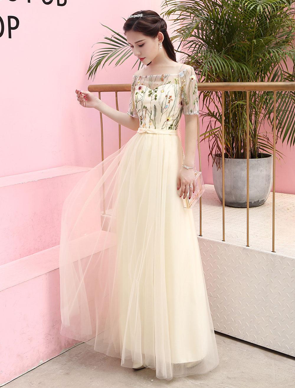 Vestido de Baile de color champaña con escote de hombros caídos De ...