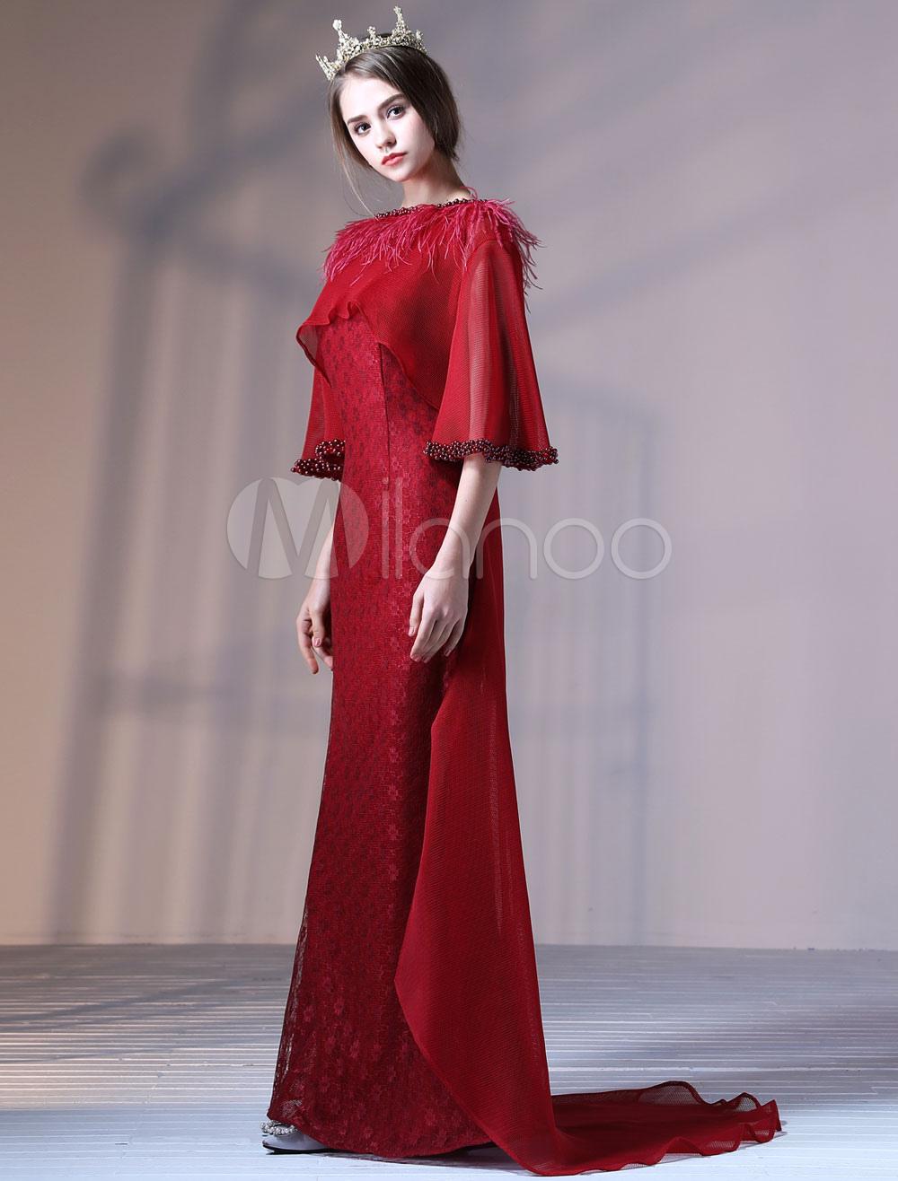 d8ea012532b Robes de soirée Luxe de fête en voile de tulle avec perles traîne sirène  col rond ...