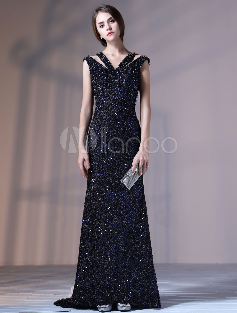 Luxury Evening Dresses Beading V Neck Backless Cut Out Blingbling ...