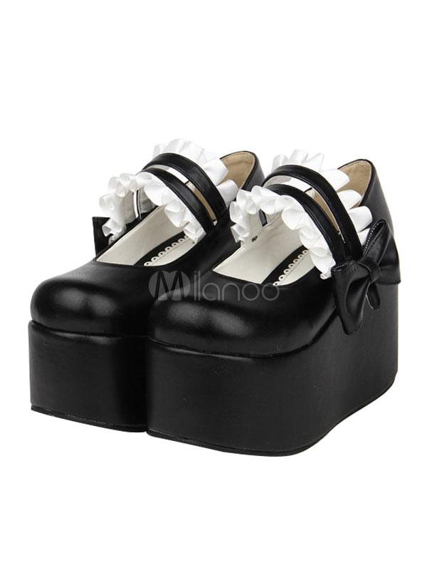 Gothic Lolita Shoes Platform Square Toe Ruffles Black Lolita Shoes