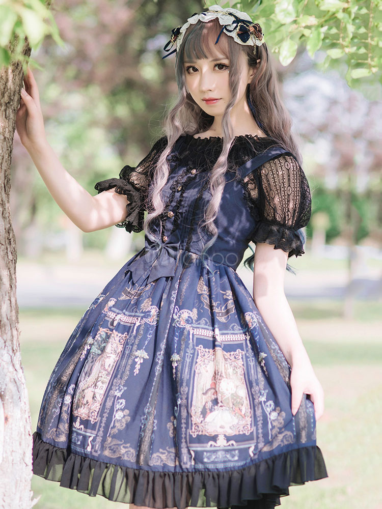 Buy Classic Lolita JSK Jumper Skirt Chiffon Straps Printed Ruffles Bows Dark Navy Lolita Dresses for $125.99 in Milanoo store