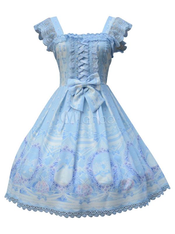 Buy Classic Lolita JSK Jumper Skirt Square Neck Chiffon Lace Printed Pleated Light Blue Lolita Dresses for $121.99 in Milanoo store