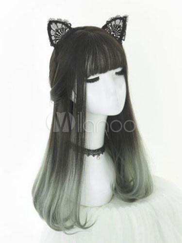 Harajuku Lolita Wigs Atrovirens Long Wigs With Blunt Bangs Lolita Accessories