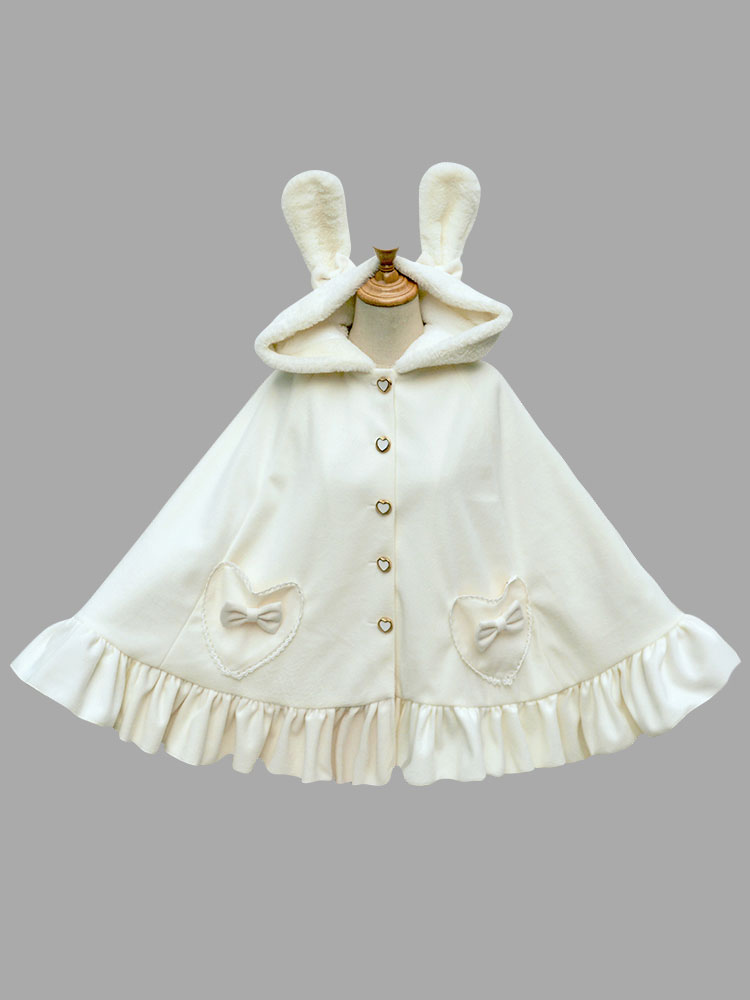 Buy Sweet Lolita Poncho Hooded Faux Fur Bunny Print Ruffles Bows White Lolita Cape Coat for $62.09 in Milanoo store