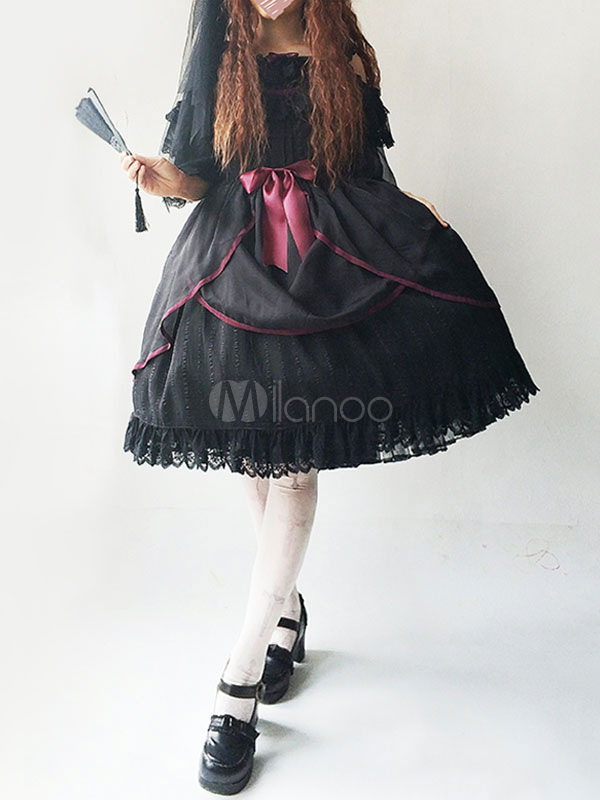 Buy Lolita Wedding Dress Infanta JSK Jumper Skirt Black Lace Ruffles Chiffon Bows Lolita Dresses for $59.39 in Milanoo store