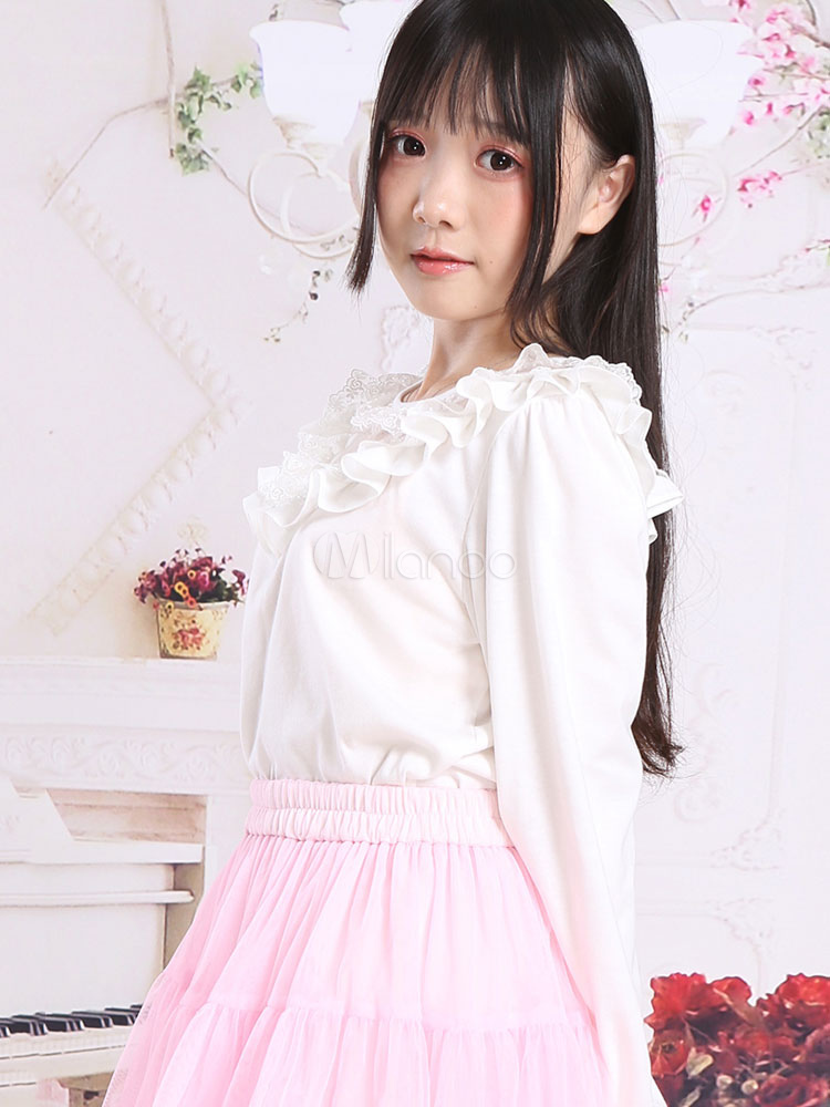 Buy Classic Lolita Blouses Ruffles Round Neck Long Sleeve White Lolita Top for $28.79 in Milanoo store