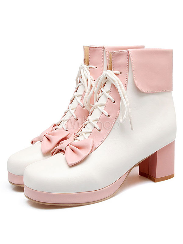 Sweet Lolita Boots Two Tone Square Toe Chunky Heel Lace Up Peach Lolita Winter Booties