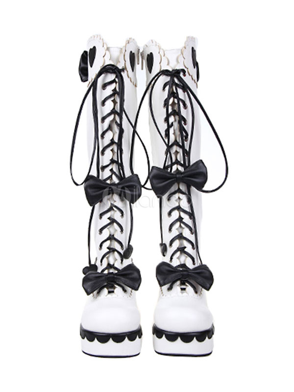 Sweet Lolita Boots Platform Square Toe Lace Up Two Tone White Lolita Winter Boots