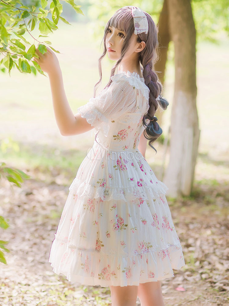 Buy Classic Lolita JSK Jumper Skirt Chiffon Straps Ruffles Floral Print White Lolita Dresses for $80.99 in Milanoo store