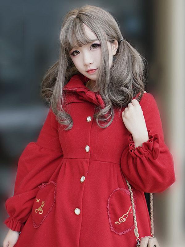 Buy Sweet Lolita Coat Hooded Long Sleeve Ruffles Embroidered Dark Red Lolita Overcoat for $101.69 in Milanoo store