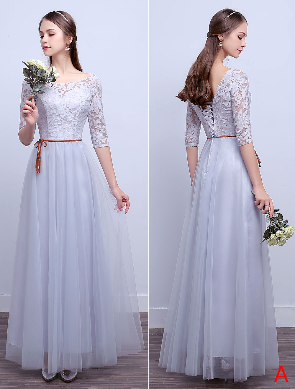 62bb2d5957 ... Silver Bridesmaid Dresses Long Lace Tulle A Line Ankle Length Prom  Dresses-No.2 ...