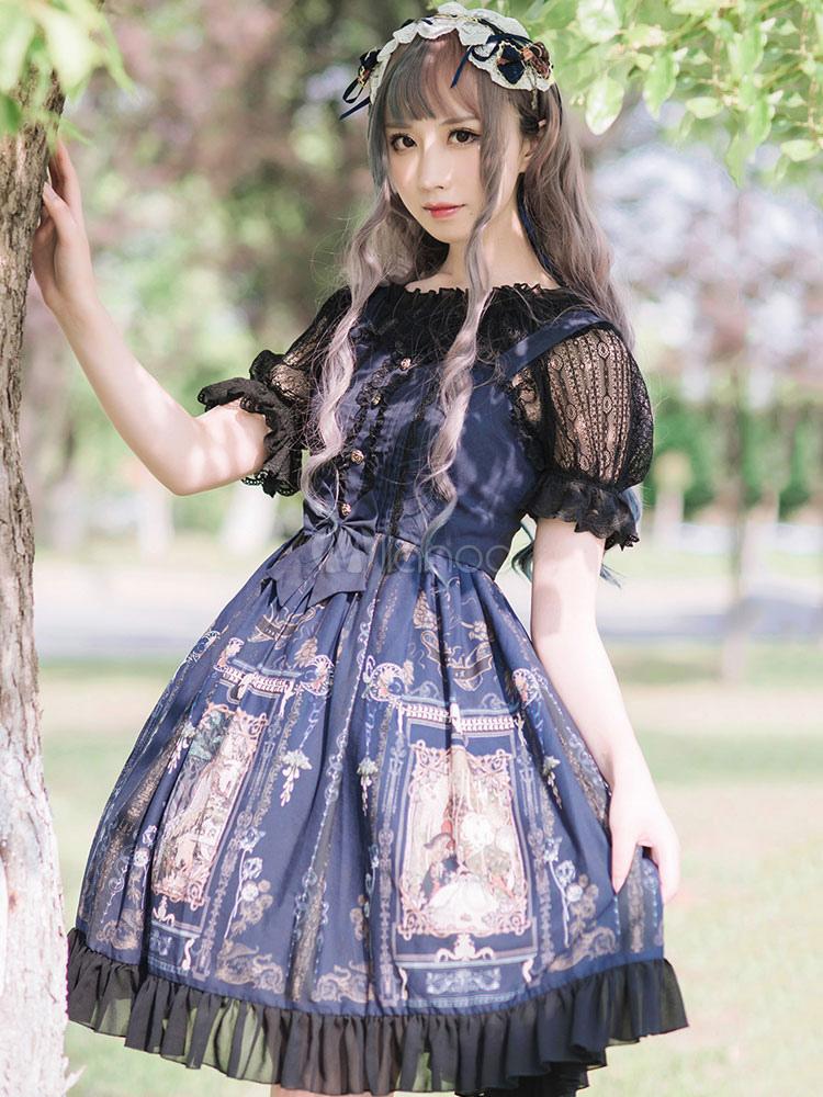 Buy Classic Lolita JSK Jumper Skirt Square Neck Sleeveless Chiffon Ruffles Printed Dark Navy Lolita Dresses for $113.39 in Milanoo store