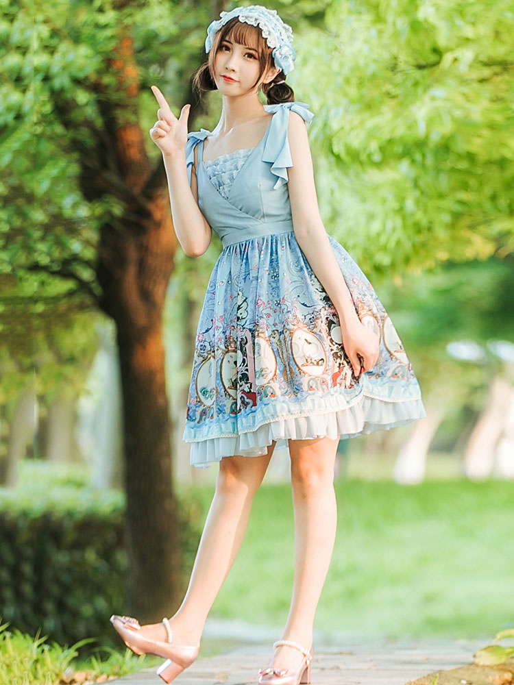 Buy Classic Lolita JSK Jumper Skirt Chiffon Square Neck Bows Pleated Printed Blue Lolita Dresses for $125.99 in Milanoo store