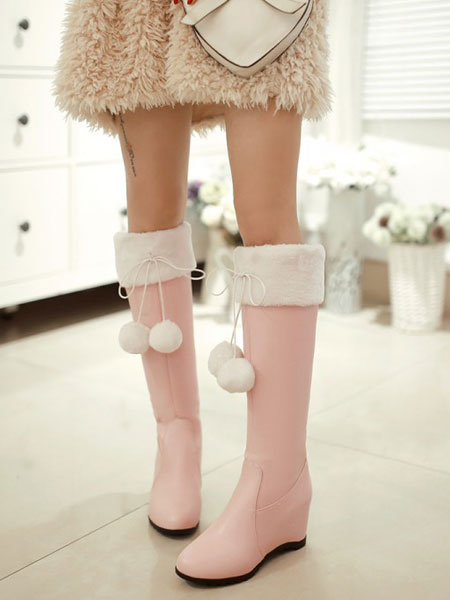 Sweet Lolita Boots Wedge Heel Round Toe Two Tone Faux Fur Pink Lolita Knee High Boots