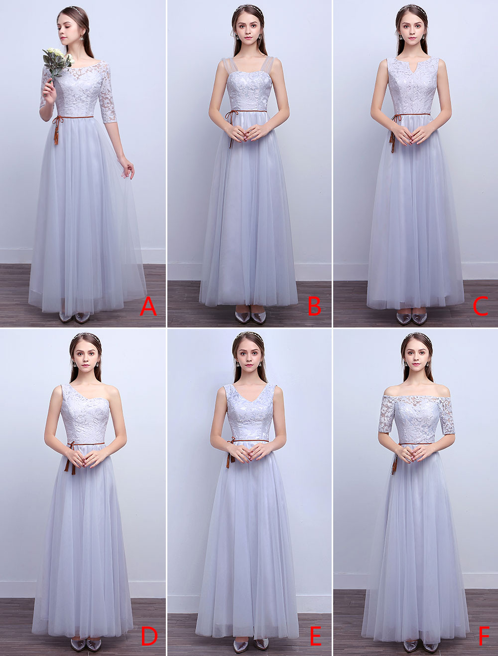 Silver Bridesmaid Dresses Long Lace Tulle A Line Ankle Length Prom Dresses