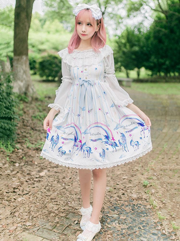 Buy Classic Lolita JSK Jumper Skirt Chiffon Sleeveless Ruffles Bows Printed White Lolita Dresses for $69.29 in Milanoo store