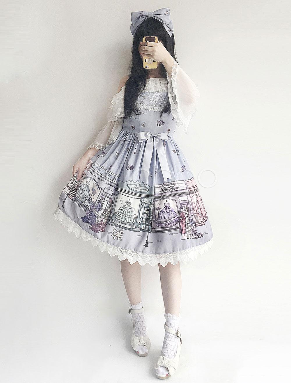 Buy Classic Lolita JSK Jumper Skirt Infanta Chiffon Lace Pleated Fairytale Printed Illusion Blue Lolita Dresses for $60.29 in Milanoo store