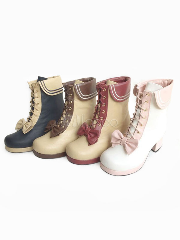 Classic Lolita Boots Platform Chunky Heel Square Toe Lace Up Color Block Lolita Winter Boots