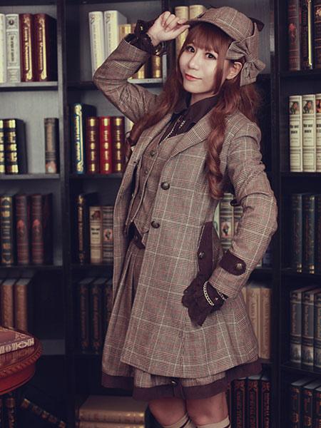 Buy Steampunk Lolita Coat Infanta Long Sleeve Turndown Collar Wool Grey Lolita Overcoat for $103.49 in Milanoo store