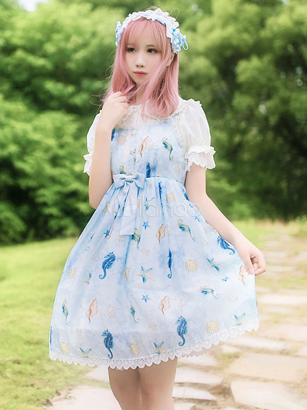 Buy Sweet Lolita JSK Jumper Skirt Chiffon Floral Print Bows Pleated Light Blue Lolita Dresses for $72.99 in Milanoo store