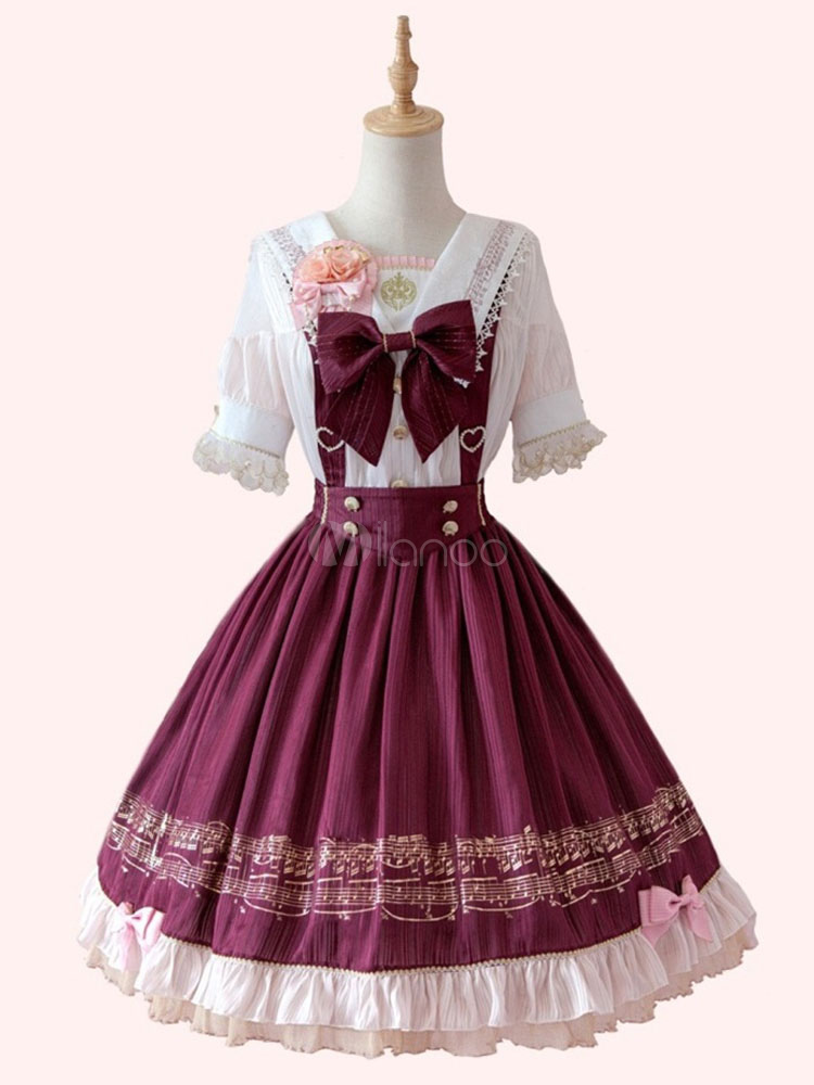 Sailor Lolita Skirt Chiffon Printed Bows Ruffles Burgundy Lolita Bottoms