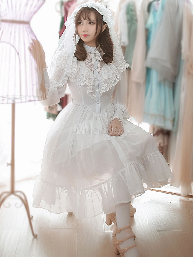 Lolita Wedding Dress OP One Piece Dresses Chiffon Stand Collar Ruffles Pleated Frills White Lolita Dresses