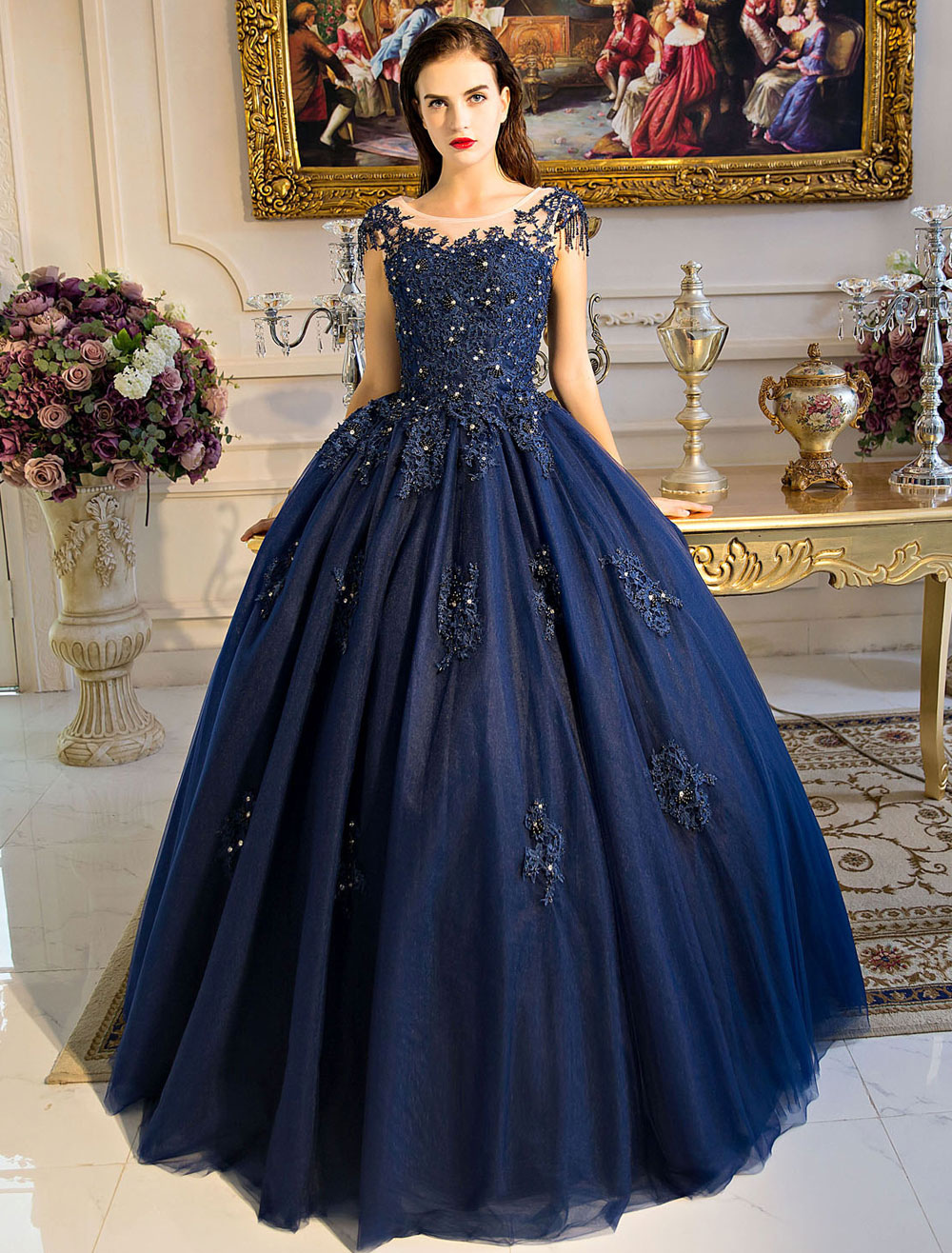 Buy Princess Quinceanera Dresses Luxury Dark Navy Lace Applique Beaded Keyhole Floor Length Women's Pageant Dress for $229.49 in Milanoo store