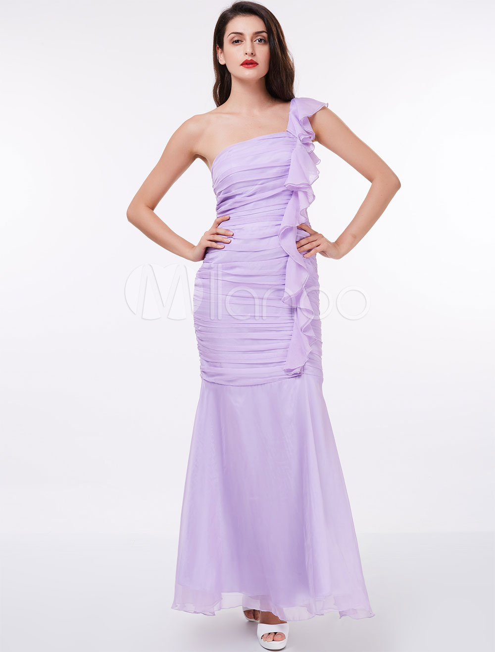 Lilac Bridesmaid Dresses One Shoulder Pleated Cascading Ruffles ...