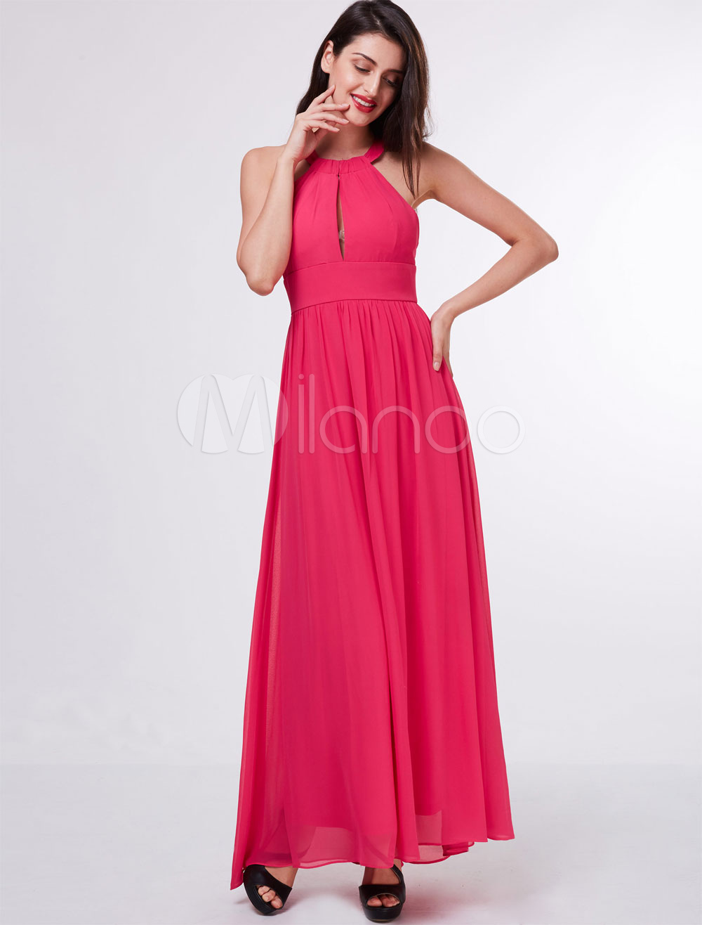 Buy Rose Prom Dresses Chiffon Halter Cut Out Backless Long Floor Length Formal Party Dress for $65.99 in Milanoo store