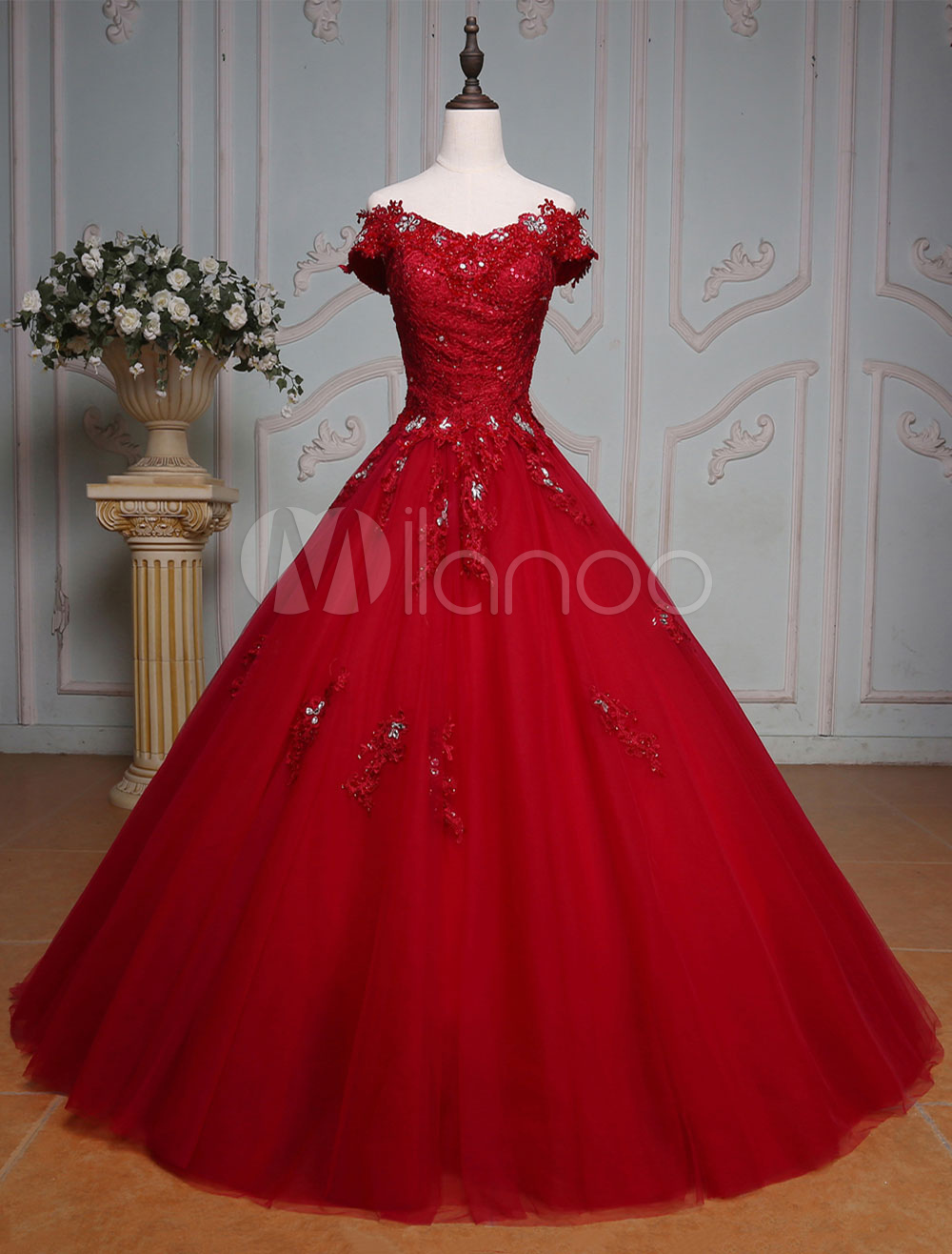 Buy Burgundy Quinceanera Dresses Luxury Off The Shoulder Princess Lace Beading Floor Length Tulle Women's Pageant Dress for $237.59 in Milanoo store