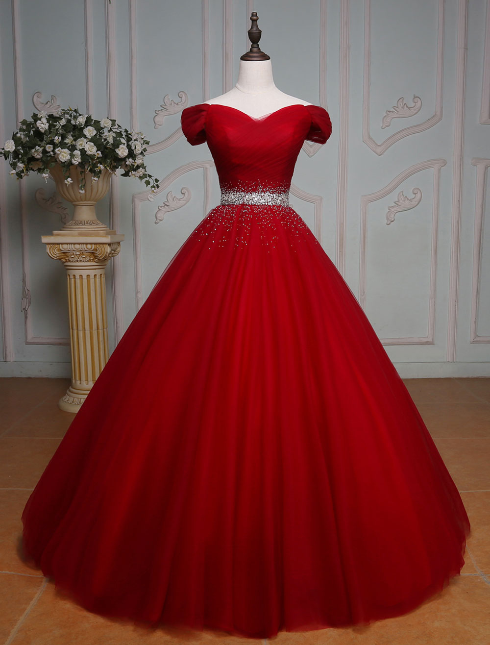 Burgundy Quinceanera Dresses Princess Tulle Beading Off The Shoulder Pleated Floor Length Women's Pageant Dress