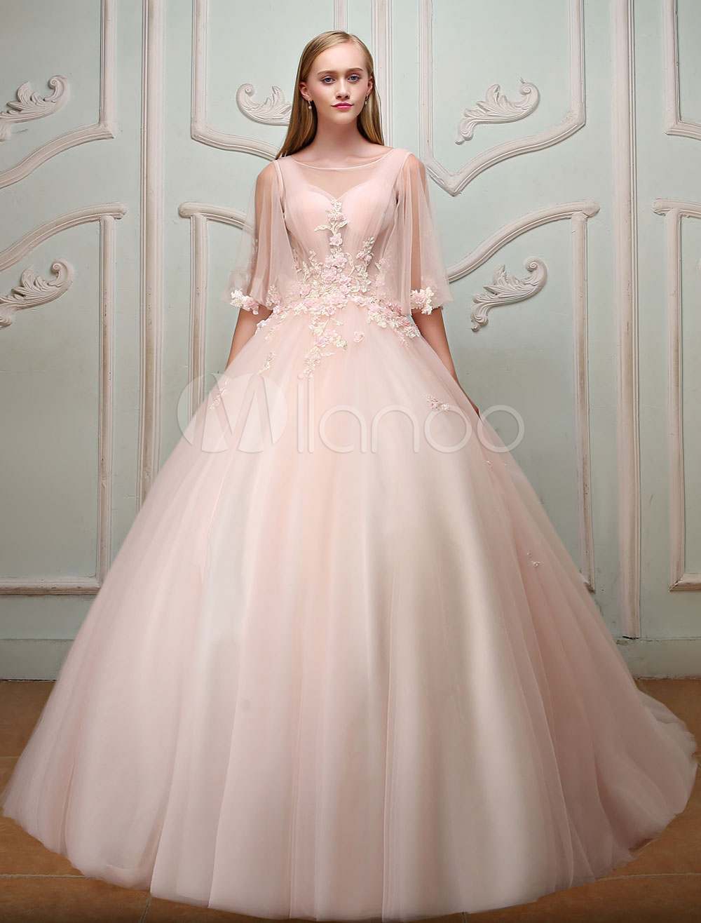 Luxury Quinceanera Dresses Princess Butterfly Sleeve Keyhole Lace Beading Tulle Soft Pink Pageant Dress With Train