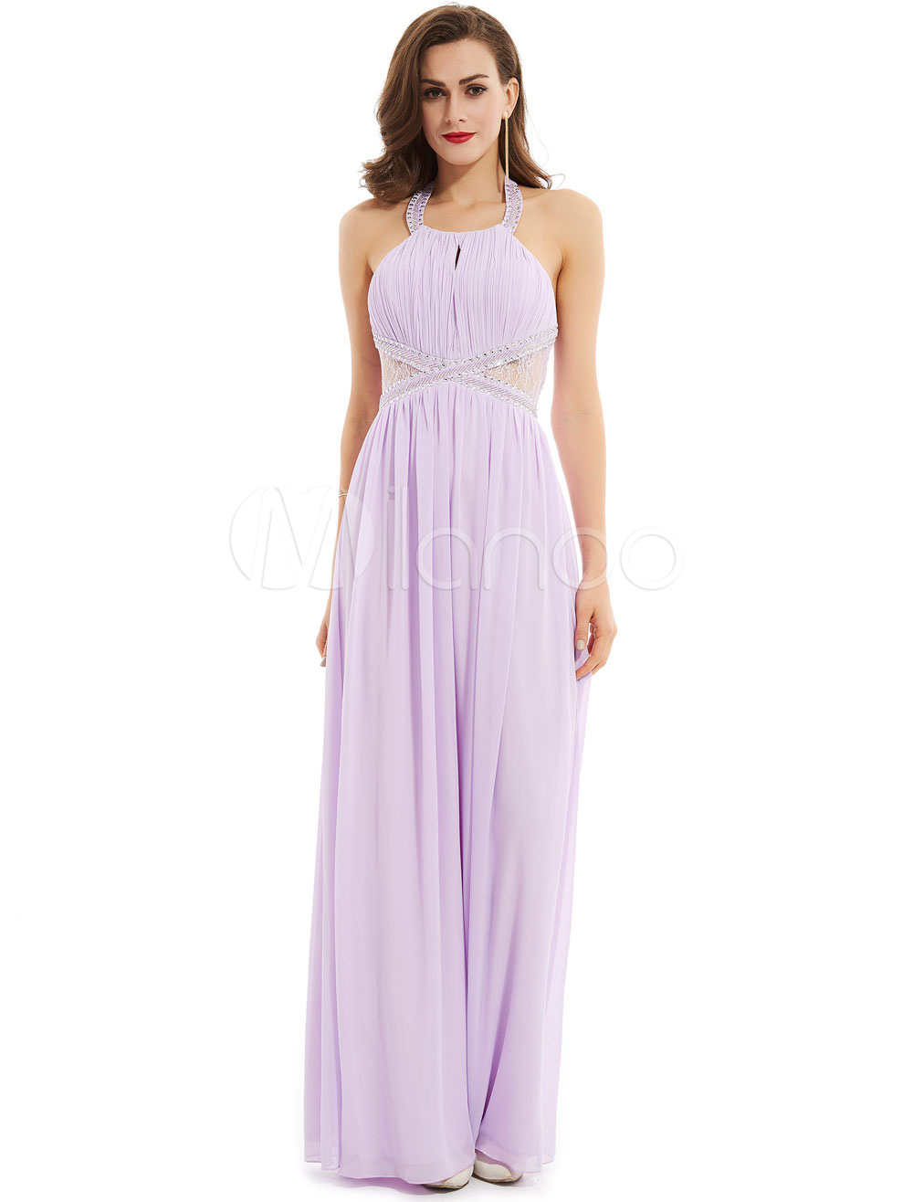 Lilac Prom Dresses Long Halter Beading Lace Illusion Backless ...