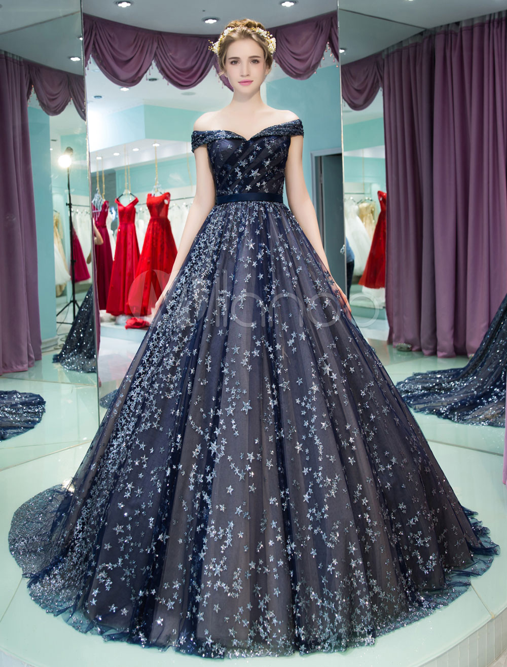 Sequin Quinceanera Dresses Princess Luxury Off The Shoulder Glitter Stars Dark Navy Pageant Dress With Train