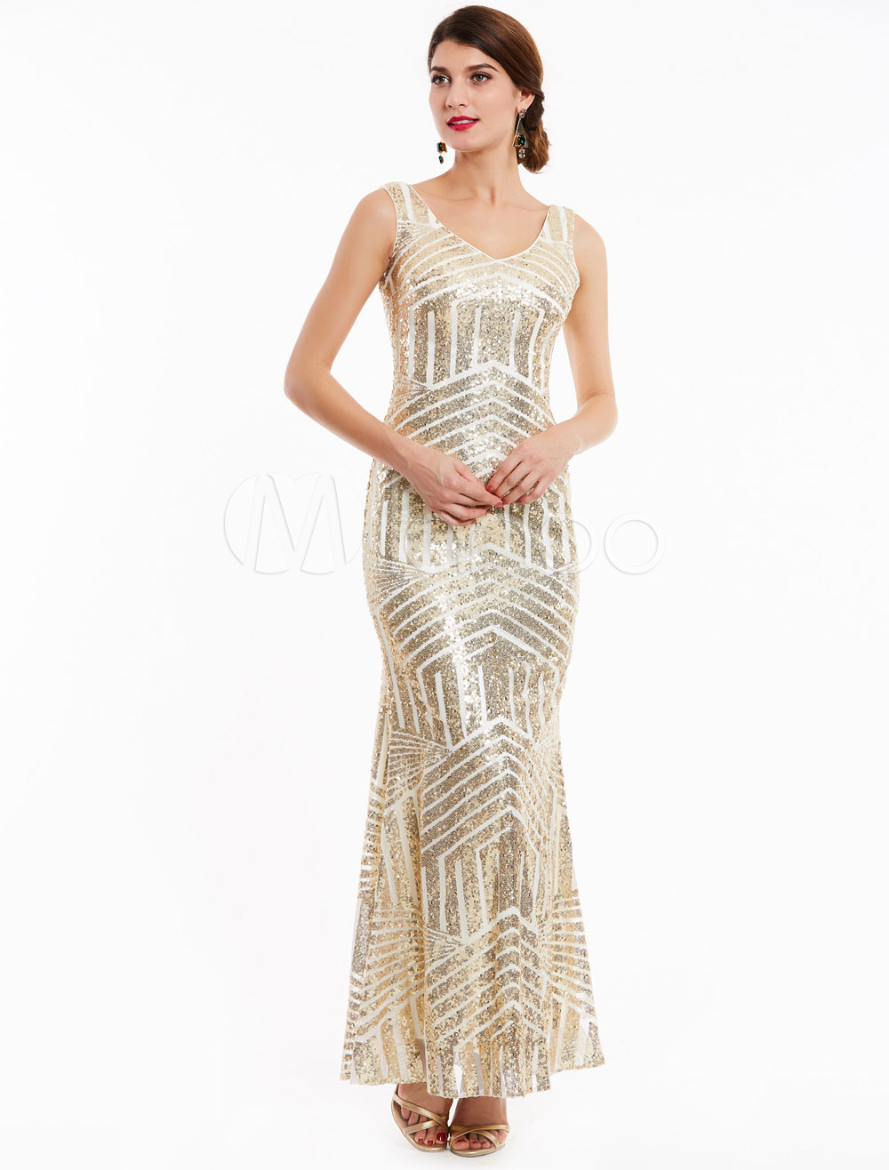Sequin Evening Dresses Mermaid V Neck Backless Light Gold Formal ...