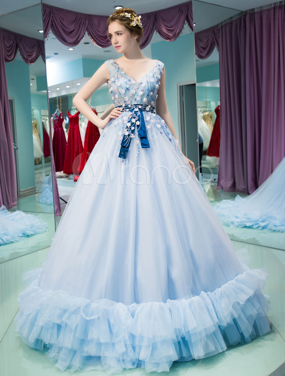 Luxury Quinceanera Dresses Princess V Neck Backless Lace Flowers ...
