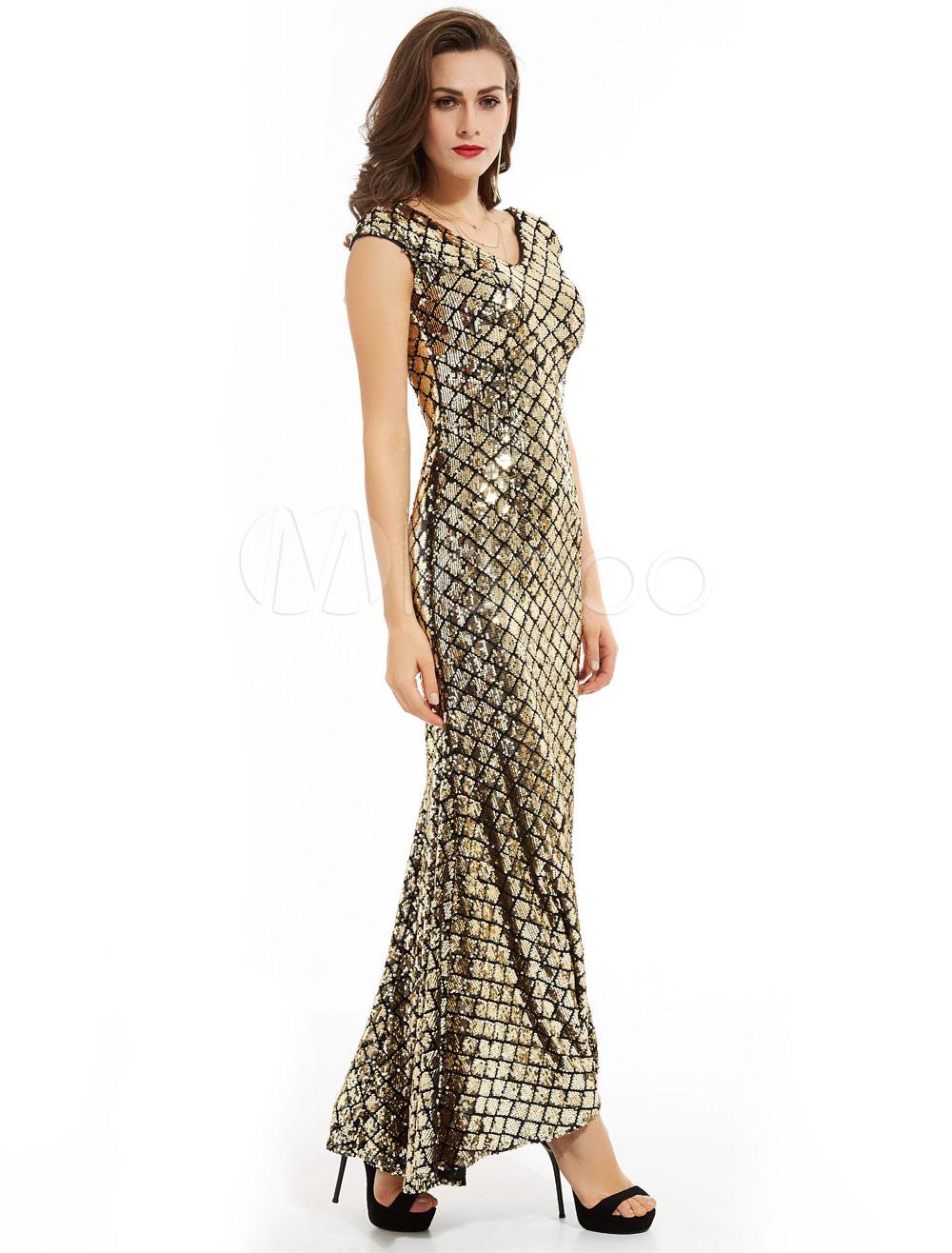 553aa475722f Sequin Evening Dresses V Neck Mother Dress Sleeveless Light Gold Wedding  Guest Dress-No.