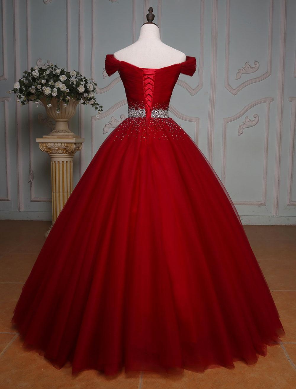 le magasin styles de mode le moins cher Robe princesse en satin mat bordeaux avec strass col bateau
