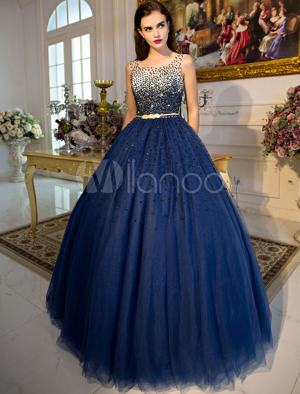 7ce17ef4d1 ... Princess Quinceanera Dresses Luxury Dark Navy Beaded Illusion  Sweetheart Floor Length Women s Pageant Dress- ...