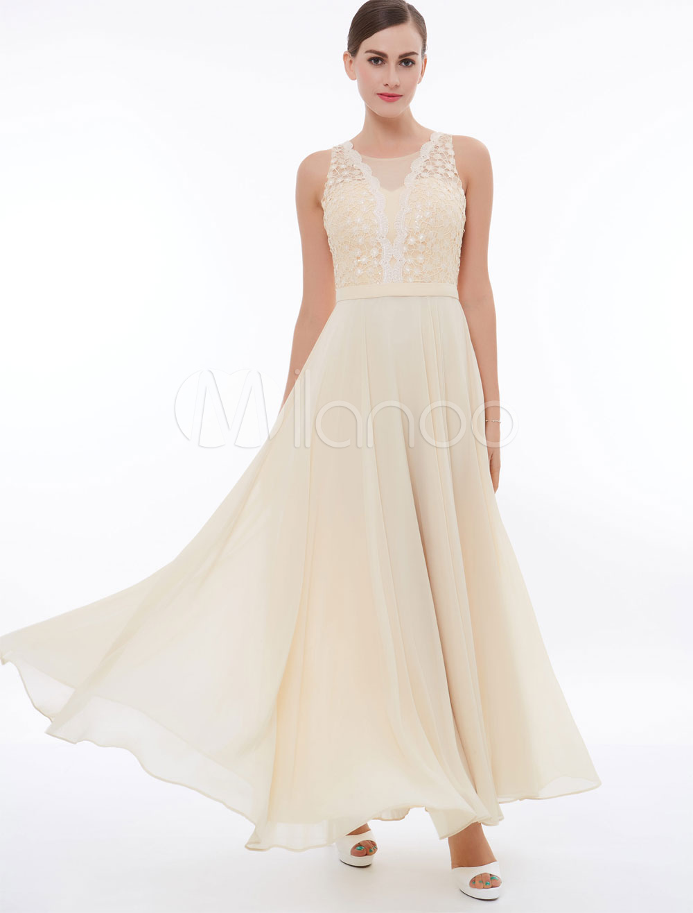 Buy Champagne Prom Dresses Long Chiffon Lace Beading Illusion Floor Length Formal Party Dress for $61.59 in Milanoo store