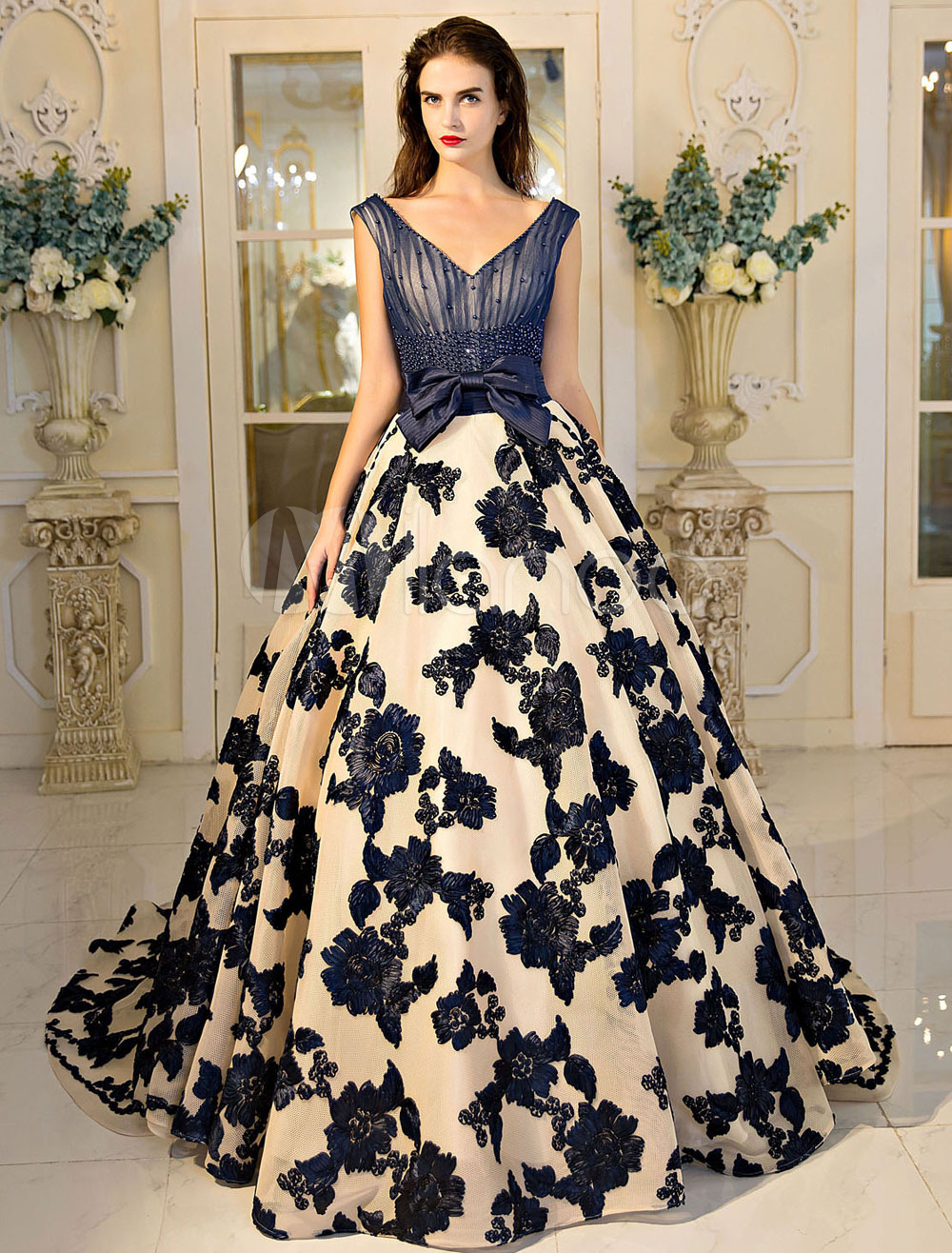 Buy Princess Quinceanera Dresses Luxury Lace Applique Beading V Neck Dark Navy Bows Women's Pageant Dress With Train for $314.49 in Milanoo store