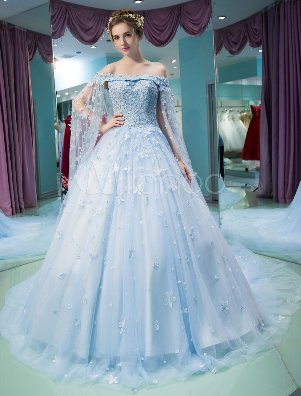 Luxury Quinceanera Dresses Lace Flowers Beading Off The Shoulder ...