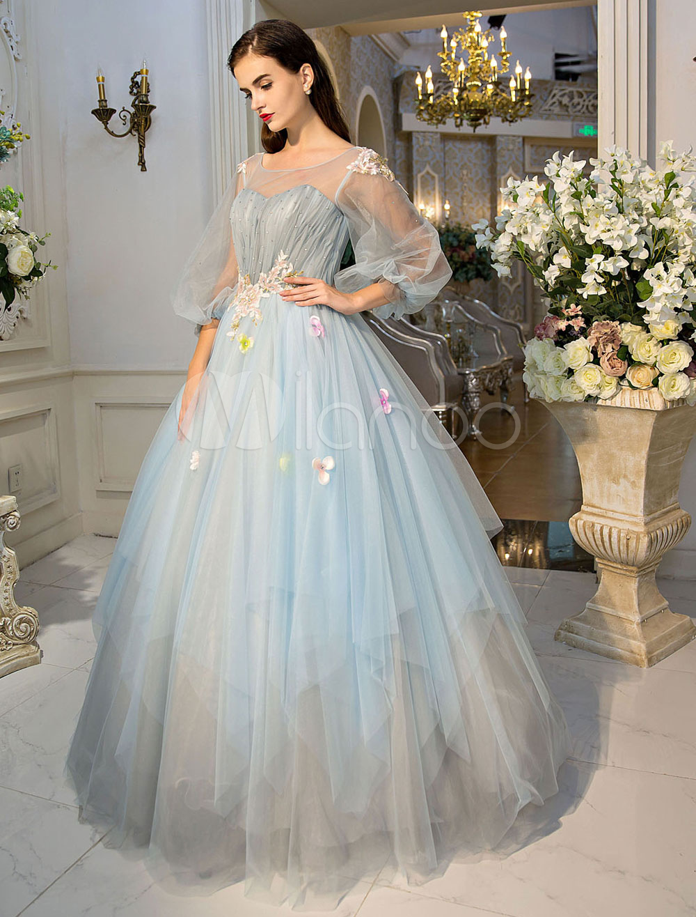 Princess Prom Dresses Luxury Long Sleeve Illusion Tulle Lace Flowers Beaded Baby Blue Tiered Women's Pageant Dresses