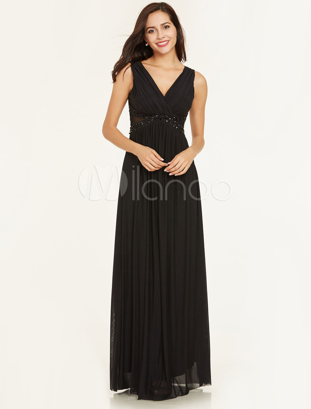 Buy Black Prom Dresses Long Chiffon V Neck Beading Illusion Waist Floor Length Formal Evening Dresses for $65.99 in Milanoo store