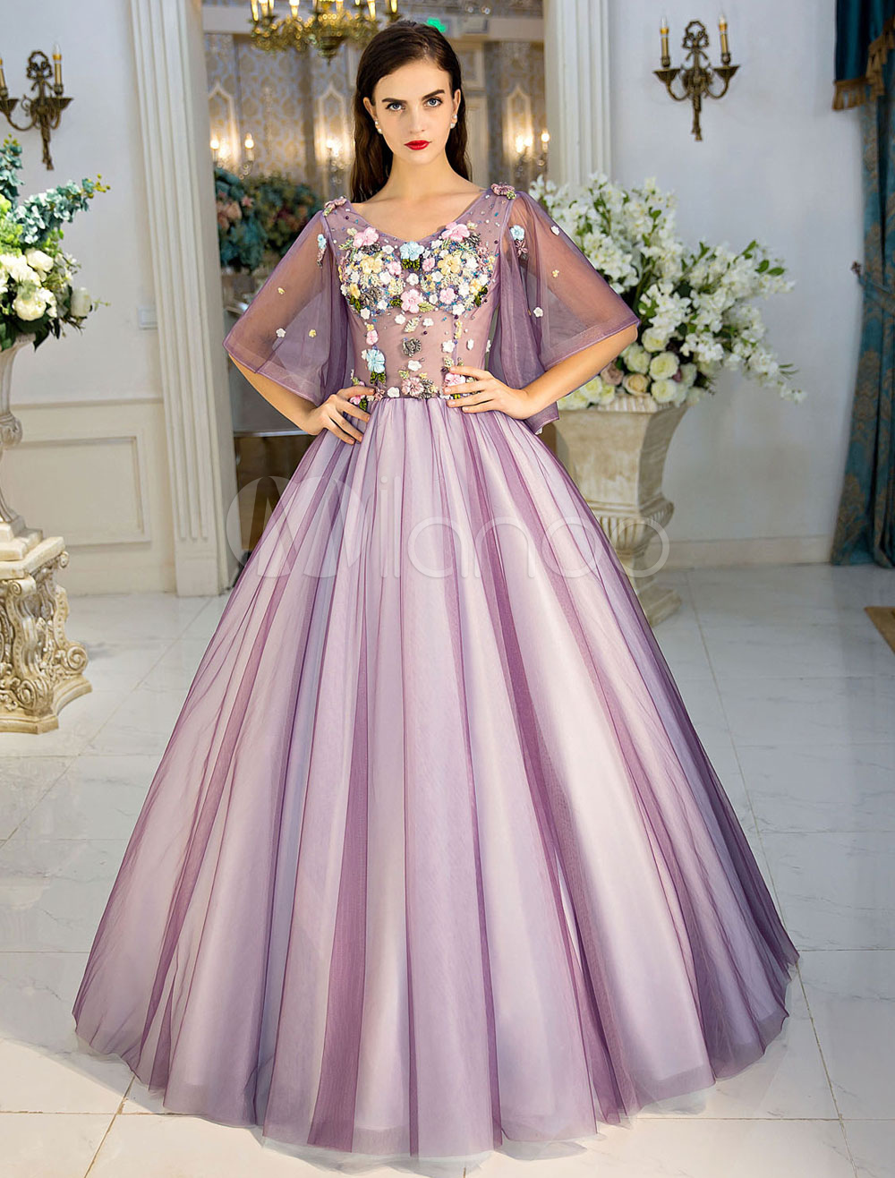 Luxury Quinceanera Dresses Princess Lilac Flowers V Neck Illusion Butterfly Sleeve Tulle Floor Length Women's Pageant Dress