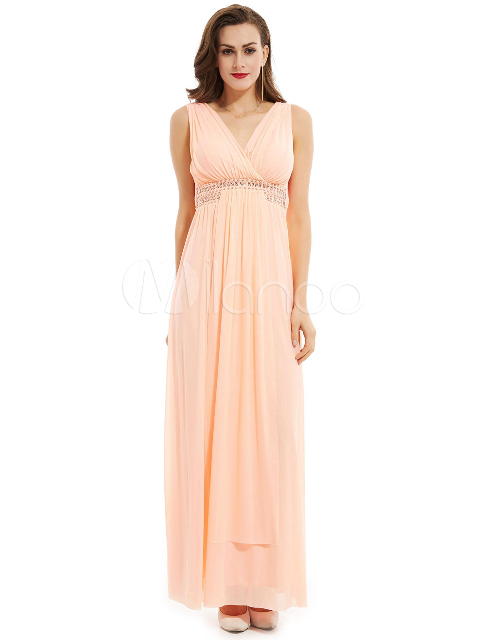 Buy Long Prom Dresses V Neck Pleated Chiffon Peach Beading Waist Formal Party Dress for $65.99 in Milanoo store
