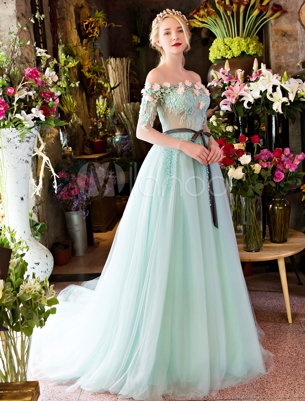 Luxury Prom Dresses Long Off The Shoulder Flowers Lace Beading ...