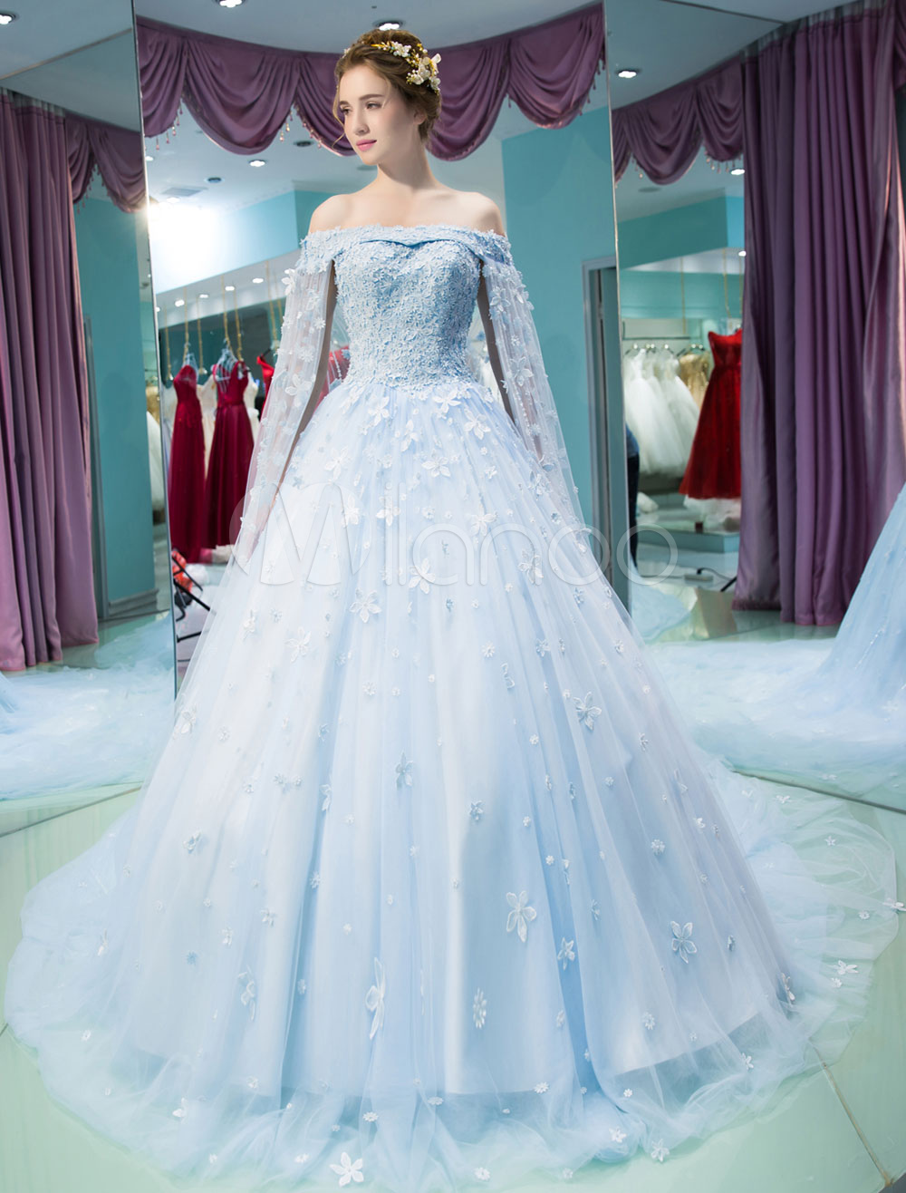 Luxury Quinceanera Dresses Lace Flowers Beading Off The Shoulder Watteau Train Princess Pageant Dresses