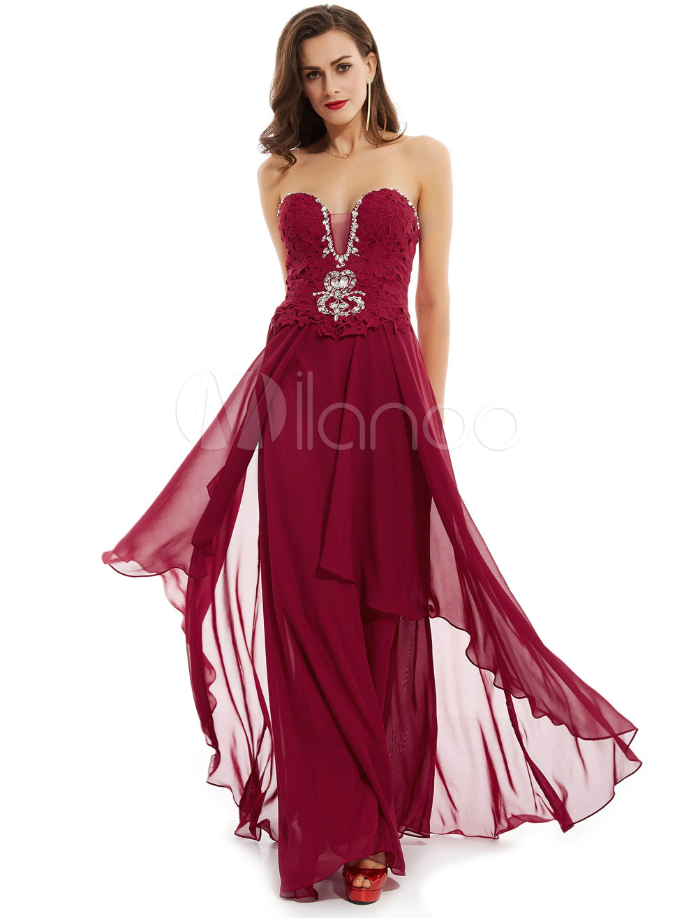 Buy Burgundy Prom Dresses Chiffon Lace Beading Sweetheart Neckline Ruffles Floor Length Formal Party Dress for $79.19 in Milanoo store