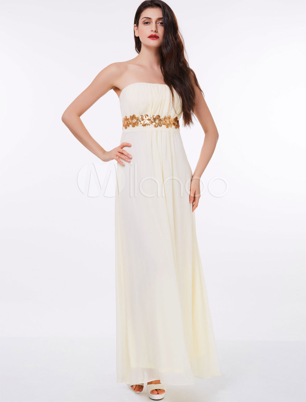 Buy Long Prom Dresses Strapless Pleated Chiffon Ivory Floor Length Formal Party Dress for $52.79 in Milanoo store